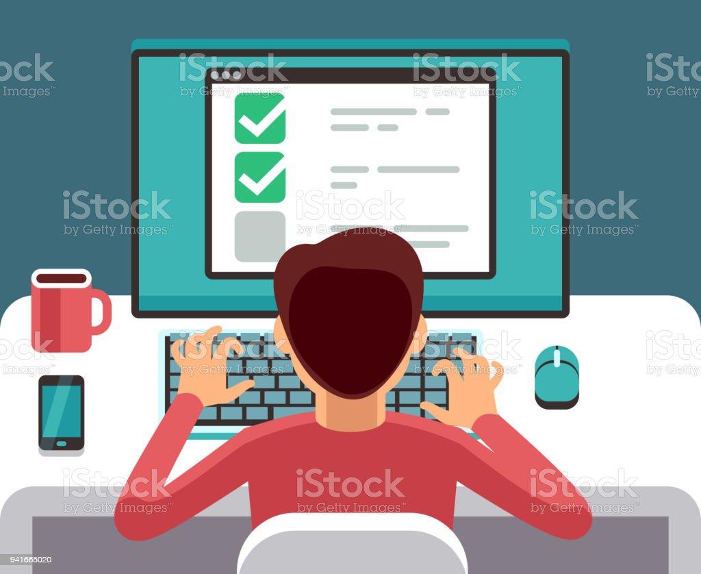 Mann am Computer Online-Fragebogen ausfüllen. Erhebungskonzept Vektor flach – Vektorgrafik