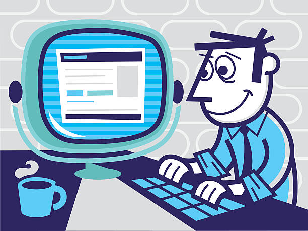 man at computer - peter bajohr stock illustrations, clip art, cartoons, & icons