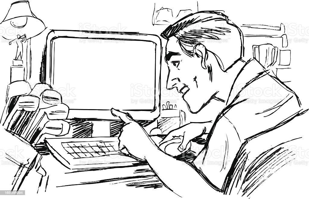 Ilustración de Hombre En Computadora Con Palos De Golf y más banco ...