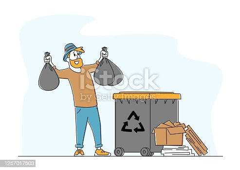istock Man at Household Activities, Duties. Male Character Throw Garbage into Recycling Container, Garbage Recycle Litter Bin 1257017503