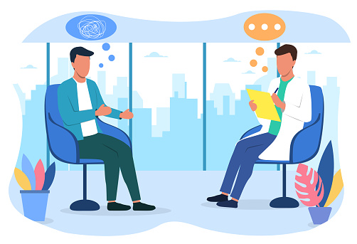Man at meeting with psychologist or psychoanalyst