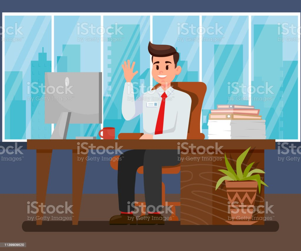 Man at New Workplace Flat Vector Illustration - illustrazione arte vettoriale