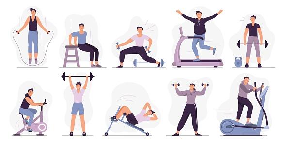 Man at sport gym. Vector illustration set