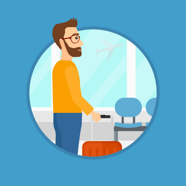 Man at the airport with suitcase vector art illustration