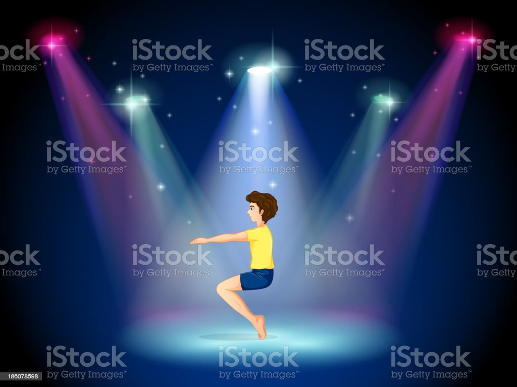 man at the center of stage doing yoga royalty-free man at the center of stage doing yoga stock vector art & more images of adult