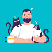 Cartoon man at the table with cats. Internet illustration for your design.