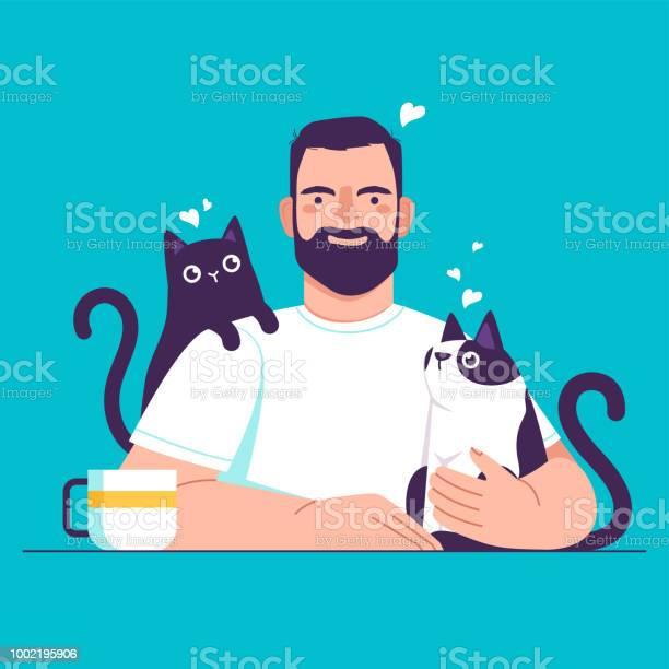 Man at the table with cats vector id1002195906?b=1&k=6&m=1002195906&s=612x612&h=klxkhevhs13qw974t9fx m9hsam022titiwocv8viz0=
