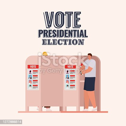 man at voting booth with vote presidential election text design, elections day theme Vector illustration