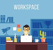Man at work. Man in suit in office room. Creative flat design interior, workplace, workspace concepts. Office worker, freelancer, developer in his room concepts. Trendy vector illustration