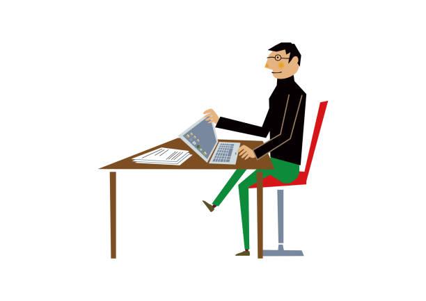 work.clip アートで男。ビジネス クリップ アート。 - オフィス外勤務点のイラスト素材/クリップアート素材/マンガ素材/アイコン素材