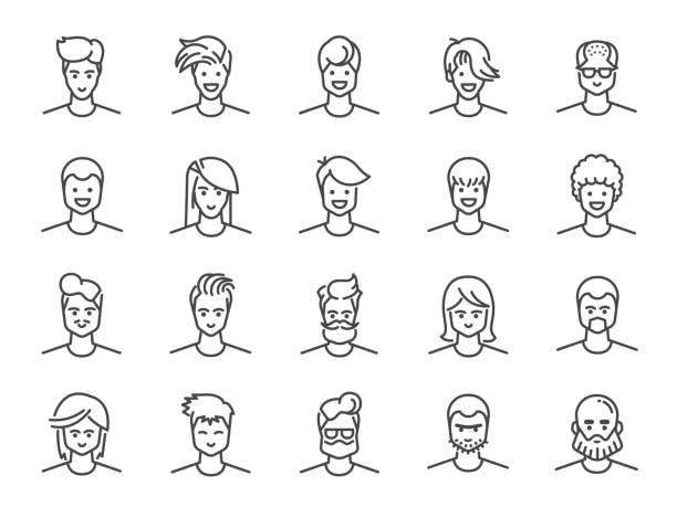 男アバター線アイコンを設定します。男性、少年、プロファイル、個人として含まれているアイコン。 - 男性 笑顔点のイラスト素材/クリップアート素材/マンガ素材/アイコン素材