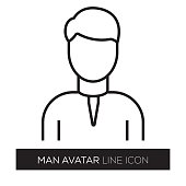 Man Avatar Line Icon