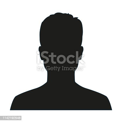 Man avatar profile. Male face silhouette or icon isolated on white background. Vector illustration.