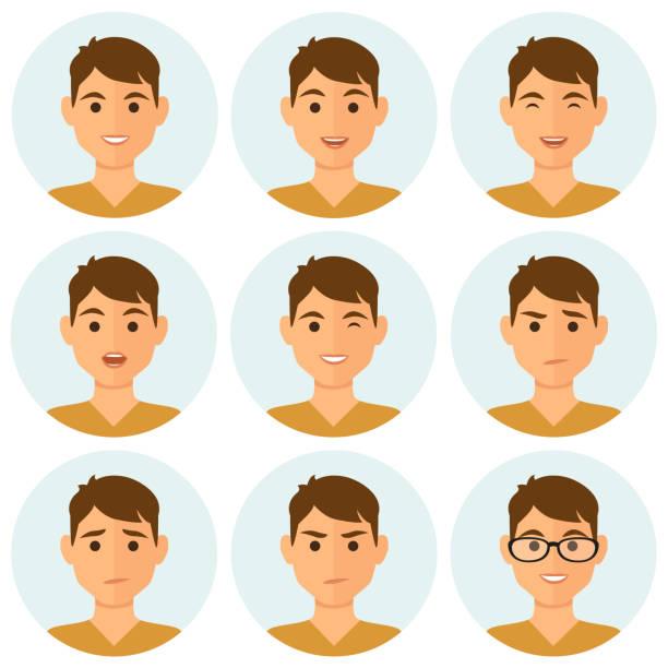 Expresiones faciales de avatares de hombre - ilustración de arte vectorial