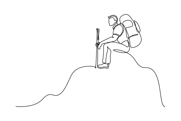 Man backpacker on the top Man traveler with backpack and trekking poles sitting on the top of mountain peak in continuous line art drawing style. Hiking and mountain climbing. Black linear sketch isolated on white background. Vector illustration hiking stock illustrations