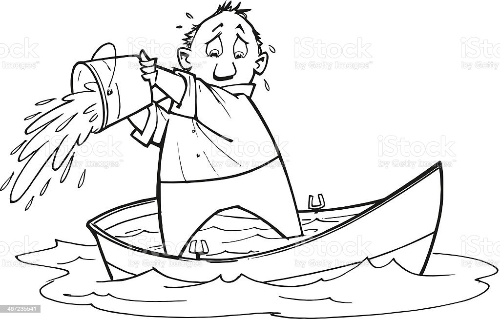 Man Bailing Boat vector art illustration