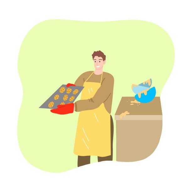 stockillustraties, clipart, cartoons en iconen met mens die tijdens isolatie voor bescherming tegen coronavirusbesmetting bakt - avondklok