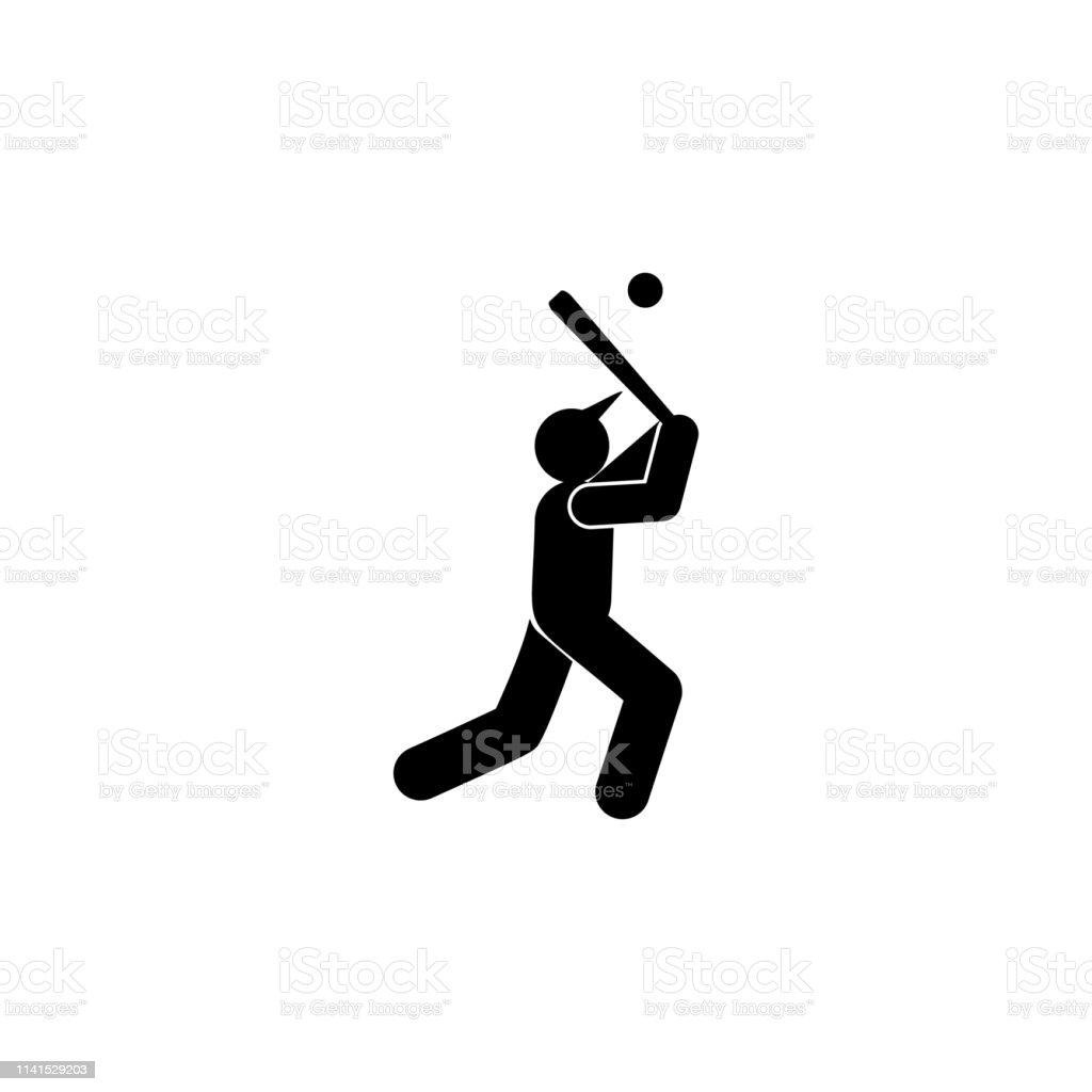 man ball run sport glyph icon. Element of baseball sport illustration...