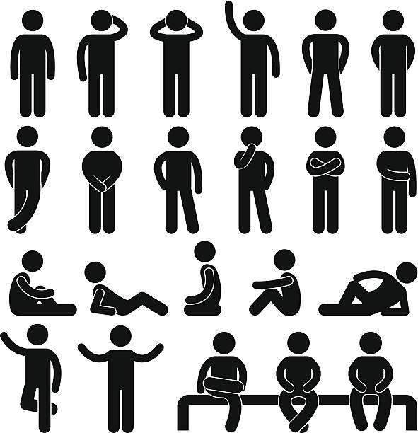 Man Basic Posture People Pictogram vector art illustration