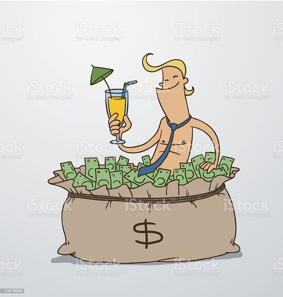 Man basks in a big bag of money royalty-free man basks in a big bag of money stock vector art & more images of adult