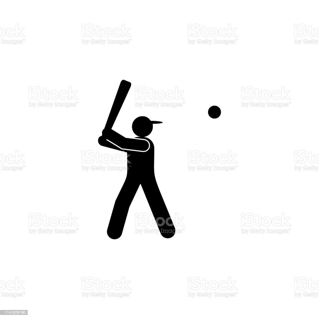 man batter ball glyph icon. Element of baseball sport illustration...