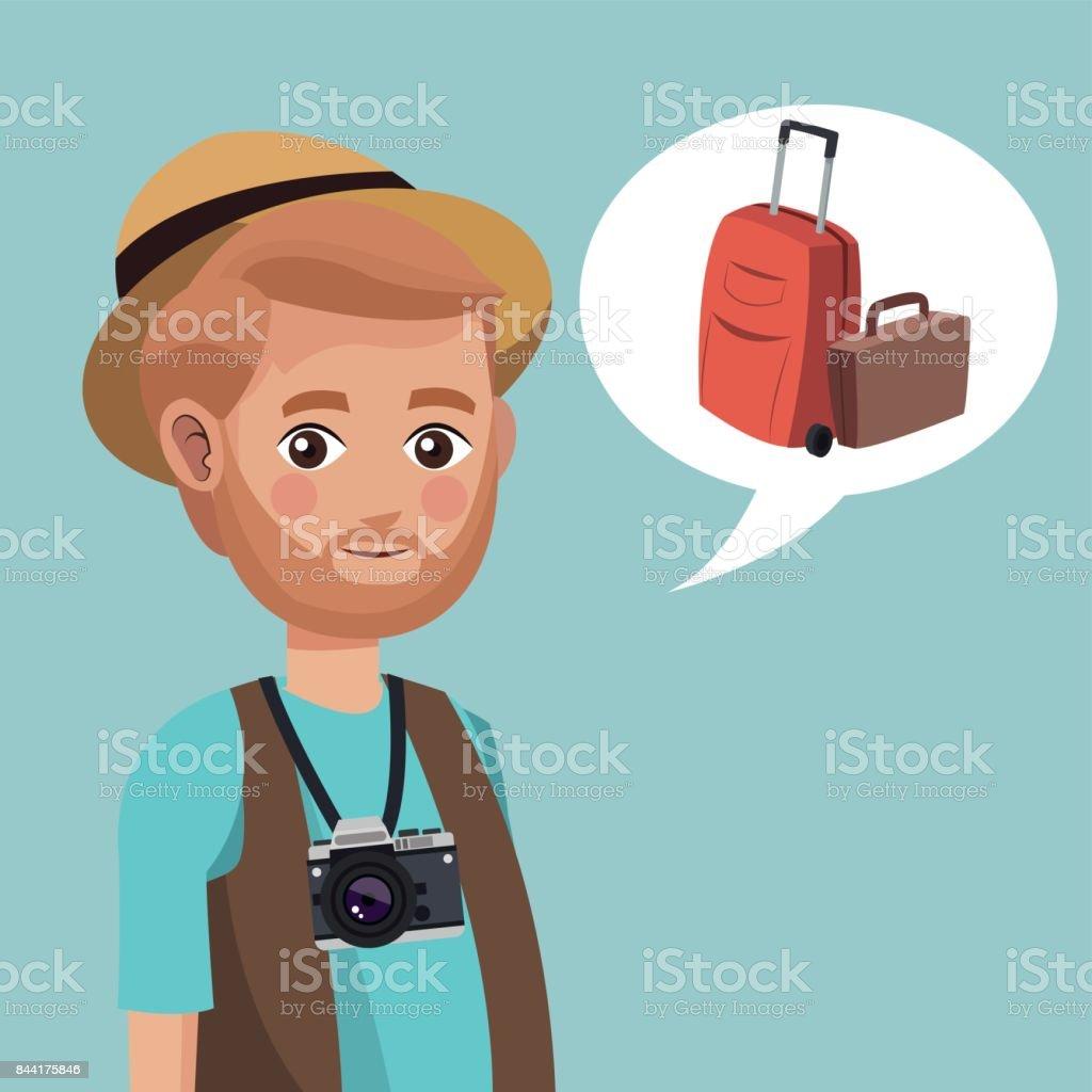 Banco Sombrero Cámara Hombre Más De Maleta Ilustración Y Barba qOaT8xf