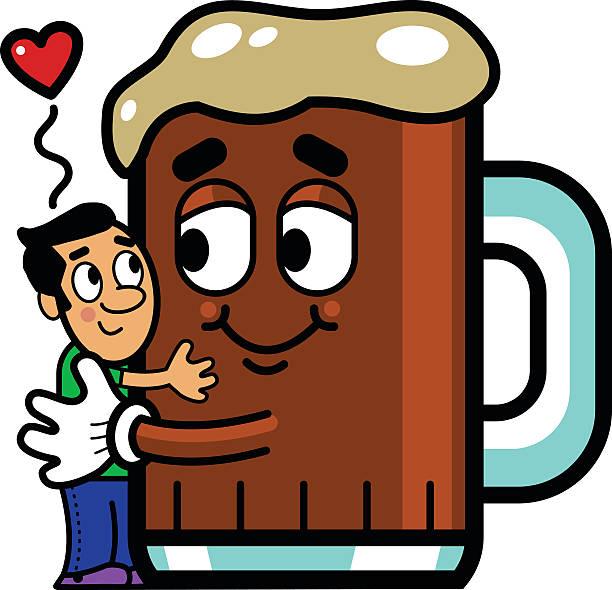 mann bier hug - hochschulgetränke stock-grafiken, -clipart, -cartoons und -symbole