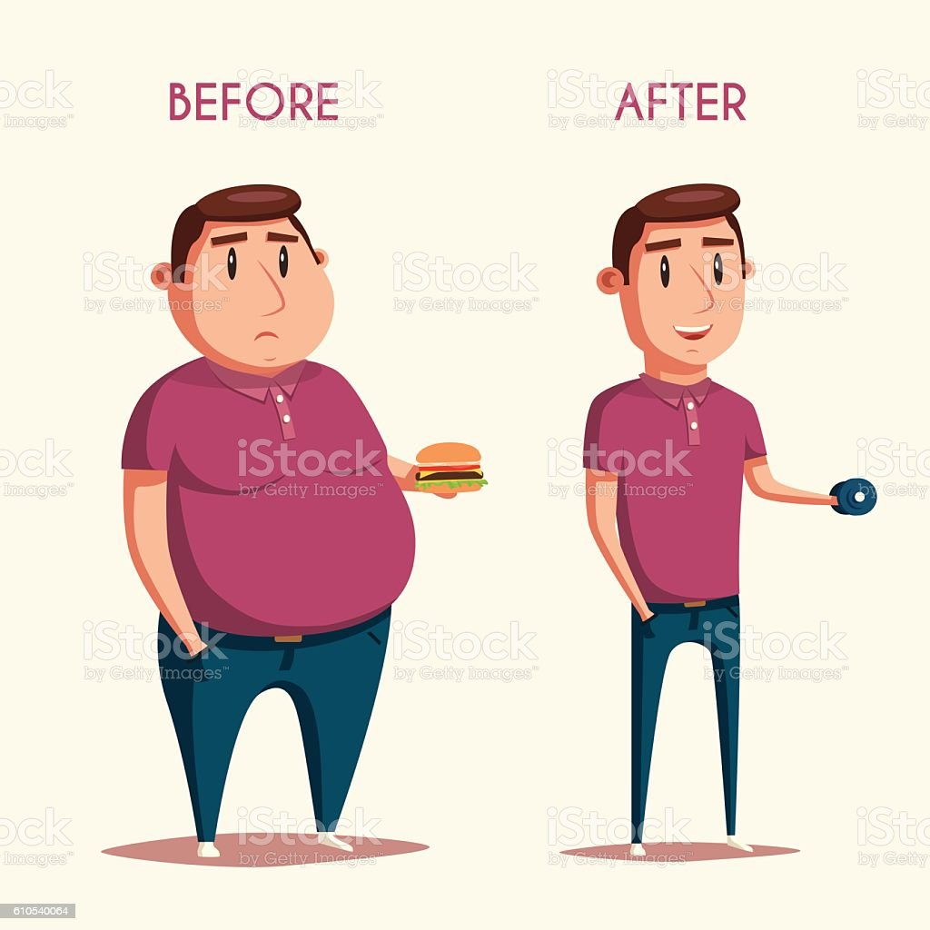 Man before and after sports. Cartoon vector illustration vector art illustration