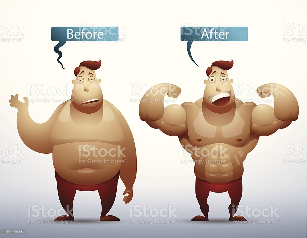 Man before and after royalty-free stock vector art