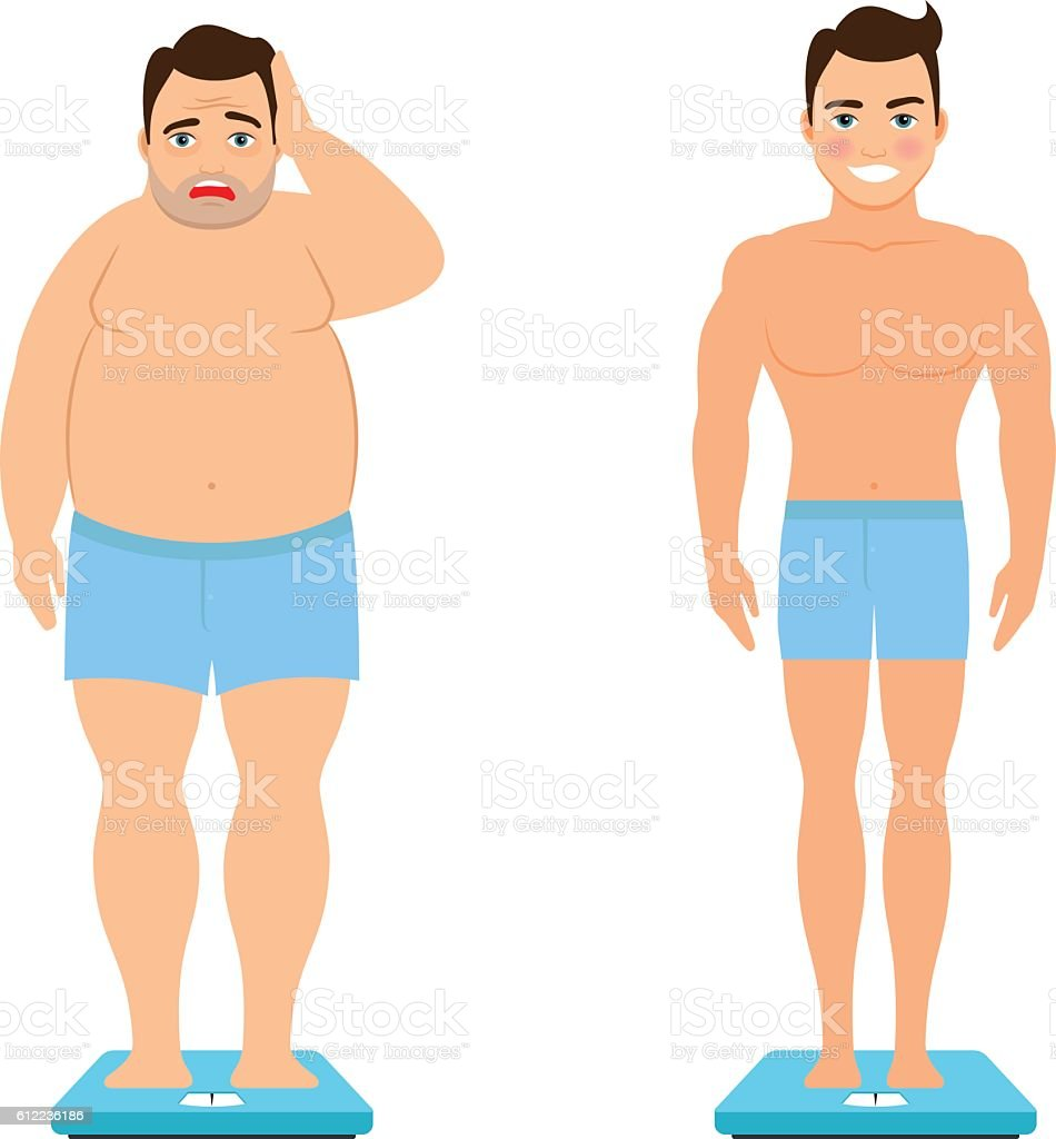 Man before and after weight loss vector art illustration