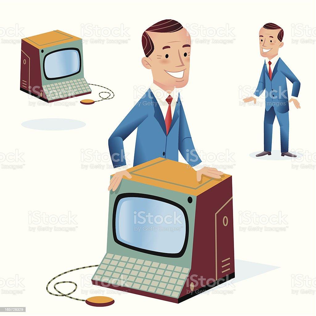 Man Behind Computer vector art illustration
