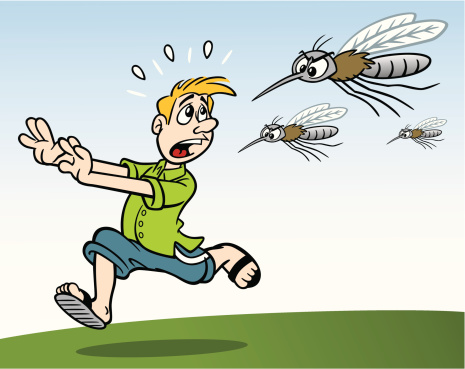 Man Being Chased By Mosquitos