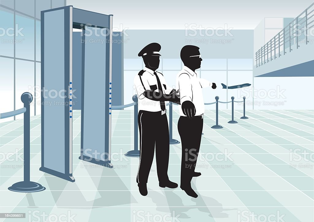 A man being checked by security at the checkpoint vector art illustration