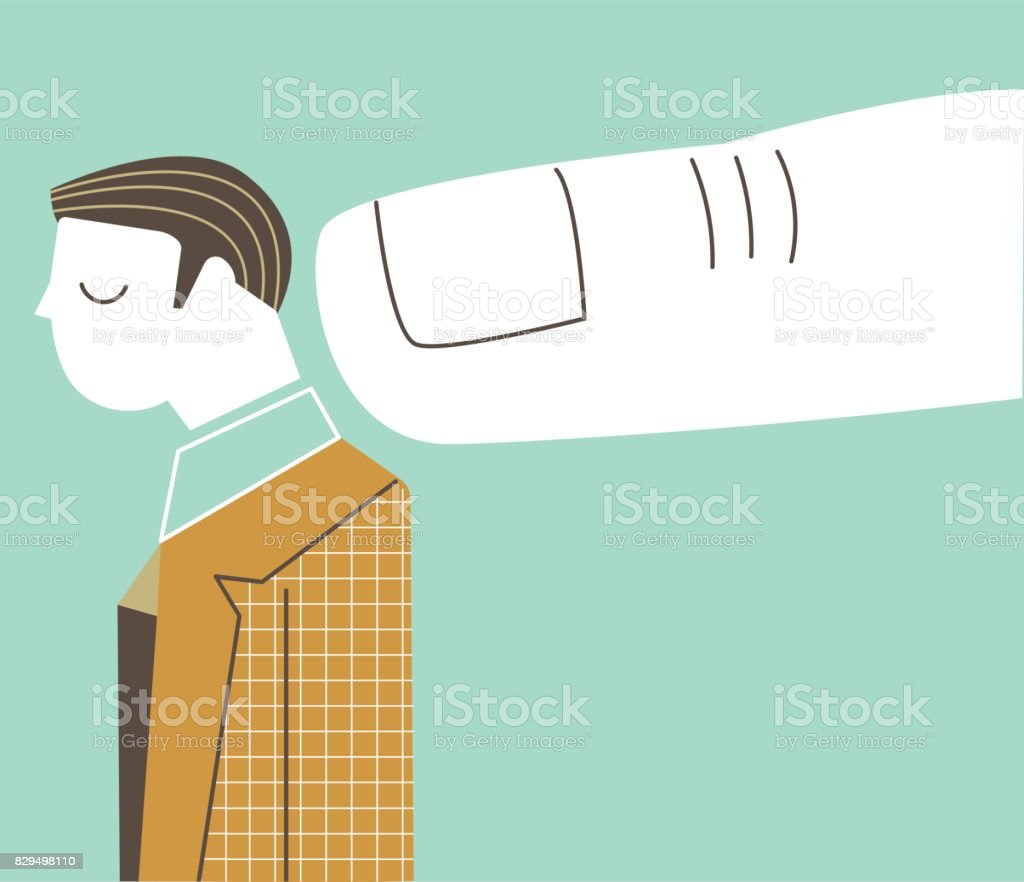 Man being pointed by a big finger vector art illustration