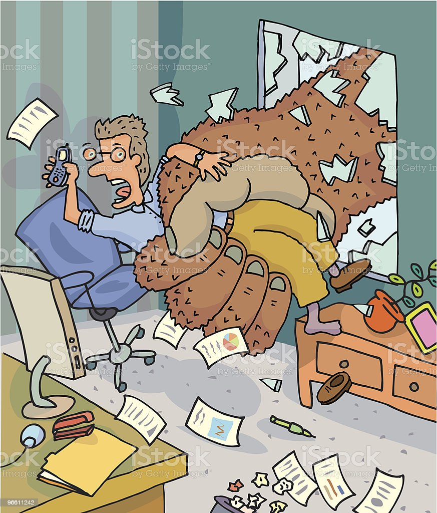 Mann ergriffen von King Kong vom Büro - Lizenzfrei Abgehobenes Telefon Vektorgrafik