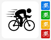 Man Biking Icon Flat Graphic Design