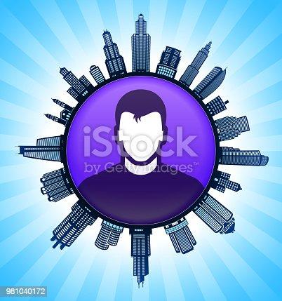 Man Black and White Cityscape Skyline Background