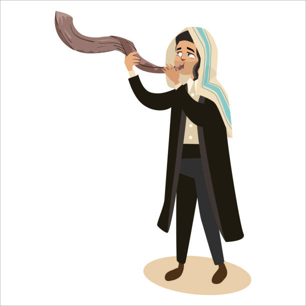 Royalty Free Background Of Shofar Horn Yom Kippur Clip Art ...