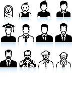 man Body Aging Process black & white vector icon set