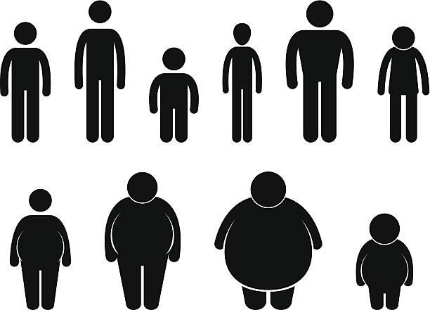 illustrazioni stock, clip art, cartoni animati e icone di tendenza di uomo corpo figura dimensione pittogramma - bassino