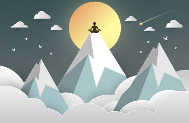 küre cam arka planda yoga lotus asana adam vücut siluet. vektör illustration eps 10. - mountain top stock illustrations