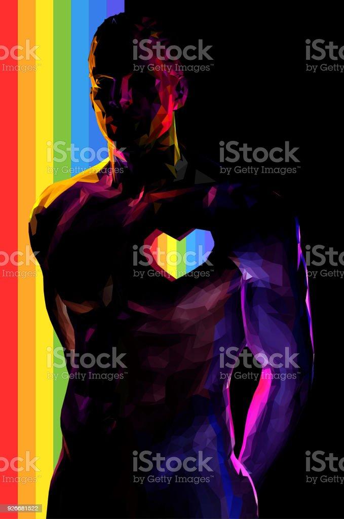 Man body with rainbow stripe on black BG vector art illustration