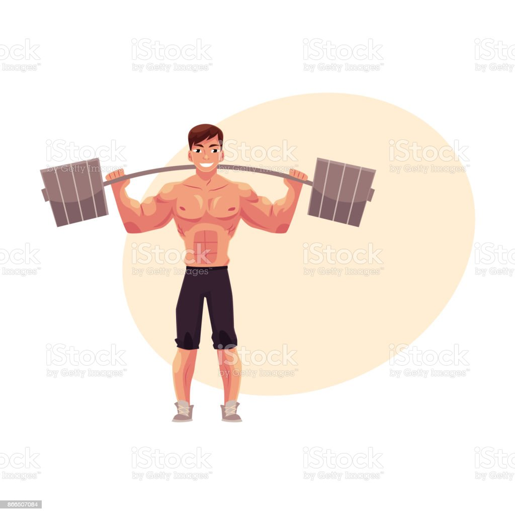 Man bodybuilder, weightlifter working out, training with barbell vector art illustration