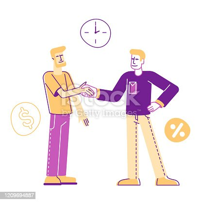 Man Borrower Shaking Hand with Employee Taking Debt in Bank or Micro Credit Organization. Banking Loan, Deal Concept. Finance Problem Quick Solution, Cartoon Flat Vector Illustration, Line Art