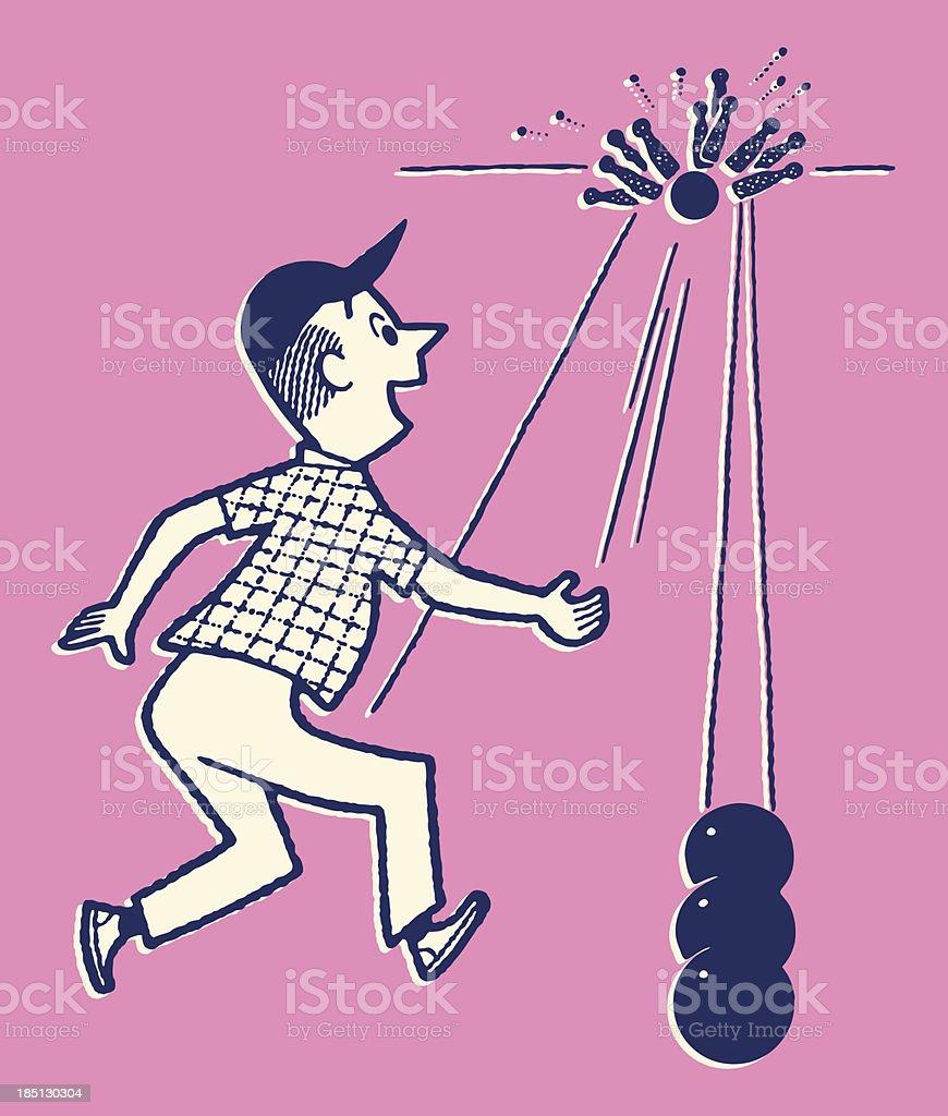 Man Bowling a Strike vector art illustration