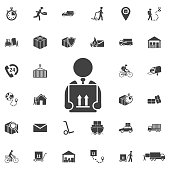 Man Box Icon. Set of Post delivery icons