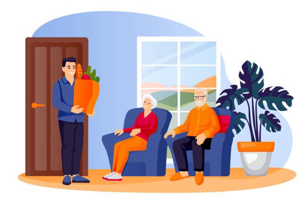 illustrazioni stock, clip art, cartoni animati e icone di tendenza di l'uomo ha portato cibo a genitori o nonni anziani. il volontario consegna generi alimentari alla coppia senior. illustrazione vettoriale - grocery home