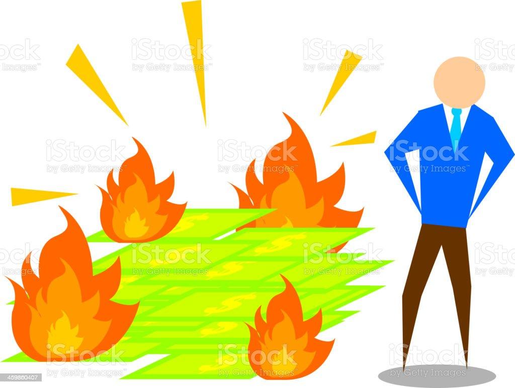 Man burning money vector art illustration