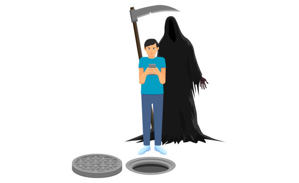 Man busy on his cellphone and Grim Reaper vector vector art illustration
