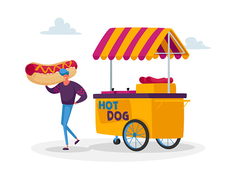 Man Buy Street Food, Takeaway Junk Meal from Wheeled Cafe or Food Truck. Tiny Male Character with Huge Hot Dog at Booth
